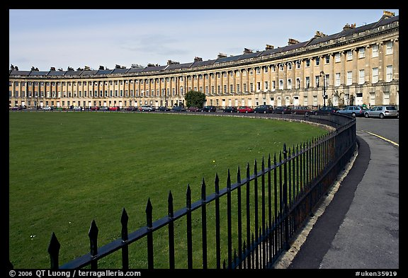 Fence, lawn, and Royal Crescent. Bath, Somerset, England, United Kingdom (color)