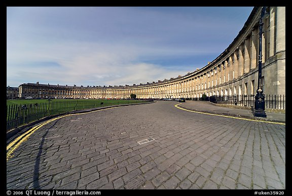 Cobblestone pavement and curved facade of Royal Crescent. Bath, Somerset, England, United Kingdom (color)