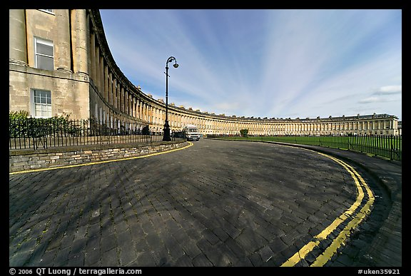 Wide view showing the whole Royal Crescent terrace. Bath, Somerset, England, United Kingdom (color)