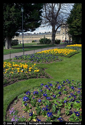 Flowers in park, with Royal Crescent in the background. Bath, Somerset, England, United Kingdom (color)