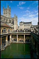 Great Bath Roman building, with Abbey in background. Bath, Somerset, England, United Kingdom (color)