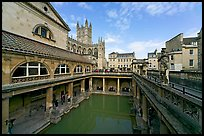 Pool of the Roman Bath, colored by green algae because of the loss of original roof. Bath, Somerset, England, United Kingdom (color)