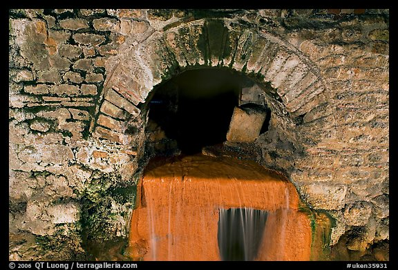 Roman-built brick channel overflow from the sacred spring. Bath, Somerset, England, United Kingdom
