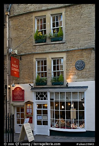 Facade of Sally Lunn House, oldest in Bath (1882). Bath, Somerset, England, United Kingdom (color)