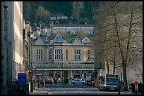 Street and train station, late afternoon. Bath, Somerset, England, United Kingdom (color)
