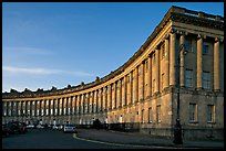 Royal Crescent, sunset. Bath, Somerset, England, United Kingdom ( color)