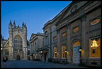 Pump Room, Roman Bath, and Abbey, dusk. Bath, Somerset, England, United Kingdom
