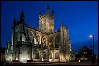 Abbey at dusk. Bath, Somerset, England, United Kingdom (color)
