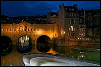 Pulteney Bridge and weir at night. Bath, Somerset, England, United Kingdom (color)