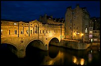 Pulteney Bridge, designed by Robert Adam, at night. Bath, Somerset, England, United Kingdom ( color)