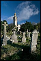 Victorian cemetery and Beckford tower. Bath, Somerset, England, United Kingdom (color)