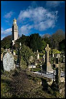Old tombs in cemetery next to Beckford tower. Bath, Somerset, England, United Kingdom (color)