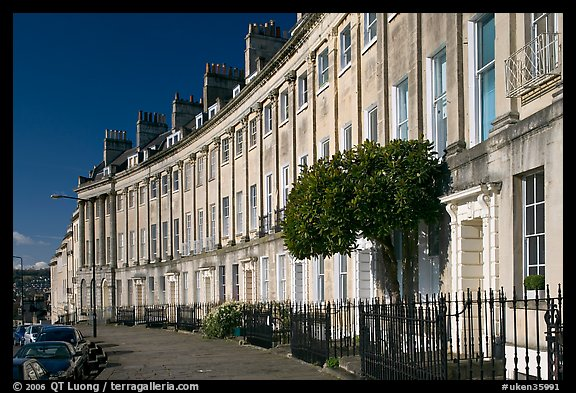 Georgian terraces of Lansdown Crescent. Bath, Somerset, England, United Kingdom (color)