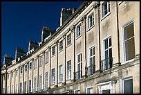 Detail of the Lansdown Crescent Crescent townhouses. Bath, Somerset, England, United Kingdom