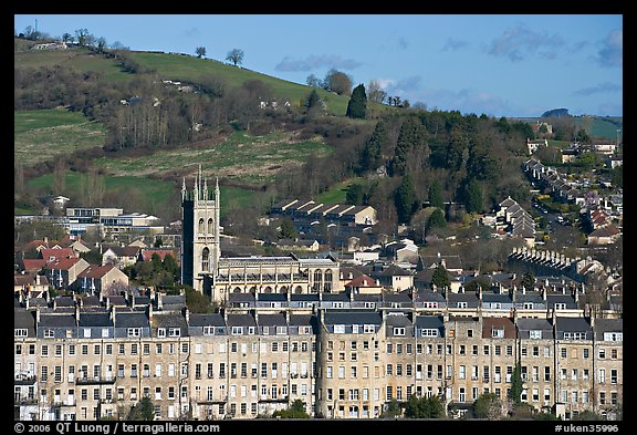 Townhouses, church and hill. Bath, Somerset, England, United Kingdom (color)