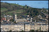 Townhouses, church and hill. Bath, Somerset, England, United Kingdom
