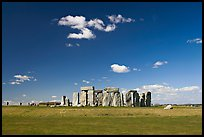 Standing stone circle, ditch and Salisbury Plain, Stonehenge, Salisbury. England, United Kingdom (color)