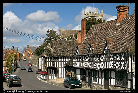 Village main street lined with half-timbered houses. Wiltshire, England, United Kingdom (color)