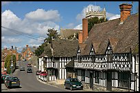 Village main street lined with half-timbered houses. Wiltshire, England, United Kingdom