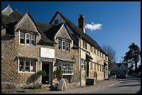 Street lined with stone houses, Lacock. Wiltshire, England, United Kingdom ( color)