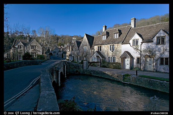 Main village street and Bybrook River, late afternoon, Castle Combe. Wiltshire, England, United Kingdom (color)