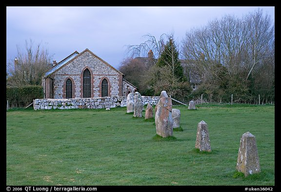 Small standing stones and chapel, Avebury, Wiltshire. England, United Kingdom (color)