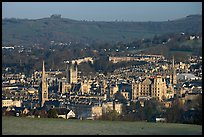 City center and hills from above, early morning. Bath, Somerset, England, United Kingdom (color)