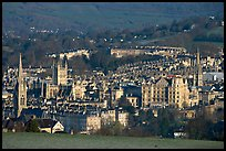 Churches, Abbey, Royal Crescent, early morning. Bath, Somerset, England, United Kingdom