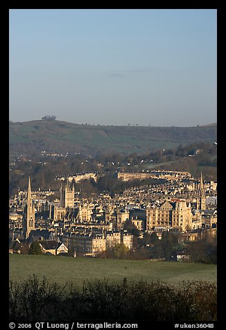 Meadow and city center. Bath, Somerset, England, United Kingdom (color)