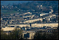 Architectural cohesion of Georgian buildings in Bath Stone. Bath, Somerset, England, United Kingdom (color)