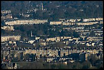 Distant view of rows of typical Georgian terraces. Bath, Somerset, England, United Kingdom (color)
