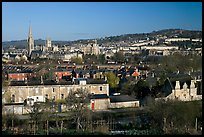 Bath skyline, seen from communal gardens. Bath, Somerset, England, United Kingdom