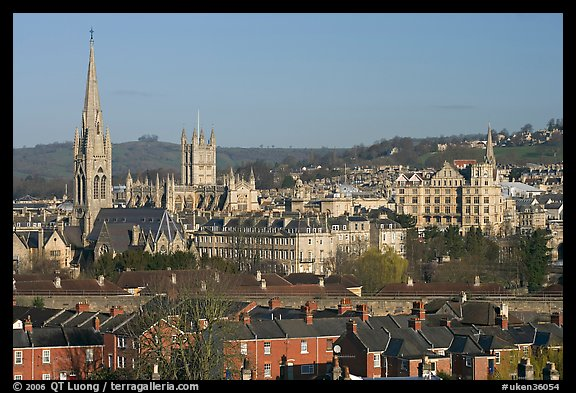 Elevated view of city center with church and abbey. Bath, Somerset, England, United Kingdom (color)