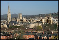 Elevated view of city center with church and abbey. Bath, Somerset, England, United Kingdom ( color)