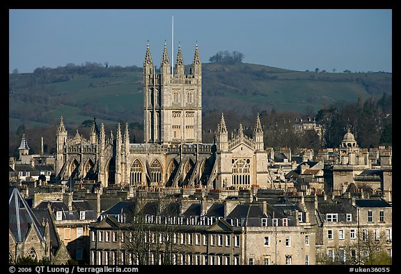 Bath Abbey rising over 18th century buildings. Bath, Somerset, England, United Kingdom (color)