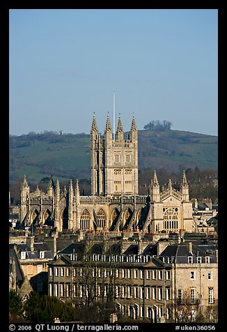 Bath Abbey dominating 18th century houses. Bath, Somerset, England, United Kingdom (color)