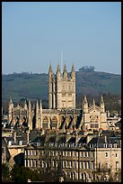 Bath Abbey dominating 18th century houses. Bath, Somerset, England, United Kingdom