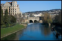 Avon River, Empire hotel, and Pulteney Bridge, morning. Bath, Somerset, England, United Kingdom (color)