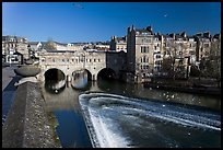 Weir on the Avon River and Pulteney Bridge. Bath, Somerset, England, United Kingdom ( color)