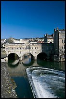 Pulteney Bridge and weir, morning. Bath, Somerset, England, United Kingdom (color)