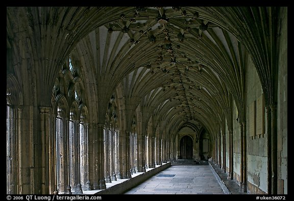 Great Cloister gallery, Canterbury Cathedral. Canterbury,  Kent, England, United Kingdom (color)