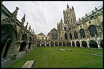 Great Cloister and Canterbury Cathedral nave and crossing spire. Canterbury,  Kent, England, United Kingdom (color)