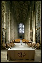 Altar, soaring arches of the Nave, and stained glass, Canterbury Cathedral. Canterbury,  Kent, England, United Kingdom (color)