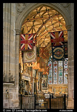 Warrior's Chapel with colours of the Princess of Wales Royal Regiment, Canterbury Cathedral. Canterbury,  Kent, England, United Kingdom (color)