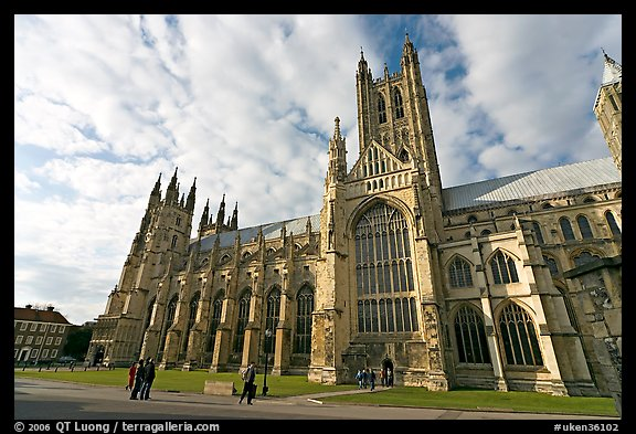 Wide view of Canterbury Cathedral from the South. Canterbury,  Kent, England, United Kingdom (color)
