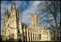 Canterbury Cathedral: portal, nave and crossing spire. Canterbury,  Kent, England, United Kingdom (color)