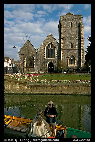 Rowboat, River Stour, Guildhall (former Holy Cross church). Canterbury,  Kent, England, United Kingdom