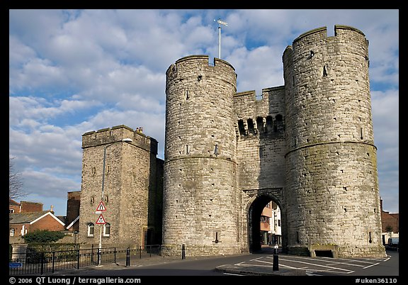 West gate to the medieval town. Canterbury,  Kent, England, United Kingdom (color)