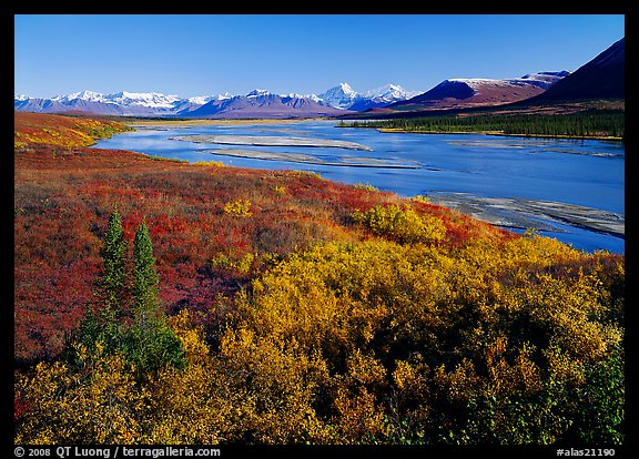 Susitna River and fall colors on the tundra, Denali Highway. Alaska, USA (color)