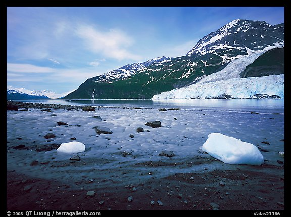 Barry arm and Glacier from Black Sand Beach. Prince William Sound, Alaska, USA (color)